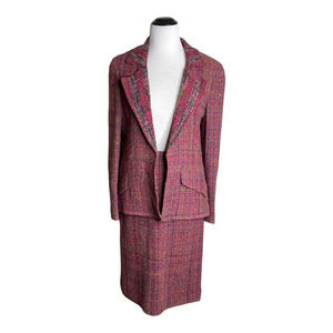 VTG 90s Chanel 38 8 Fuchsia Pink Tweed Suit Jacket Skirt NWT NOS Deadstock